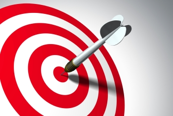 Arrow on red target - business concept